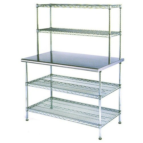 """Eagle Group T2448EBW-2 24"""" x 48"""" Stainless Steel Table with 2 Chrome Wire Undershelves and 2 Chrome Wire Overshelves"""