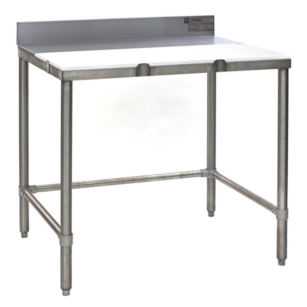eagle group tb3060s 30 inch x 60 inch poly top stainless steel trimming table open