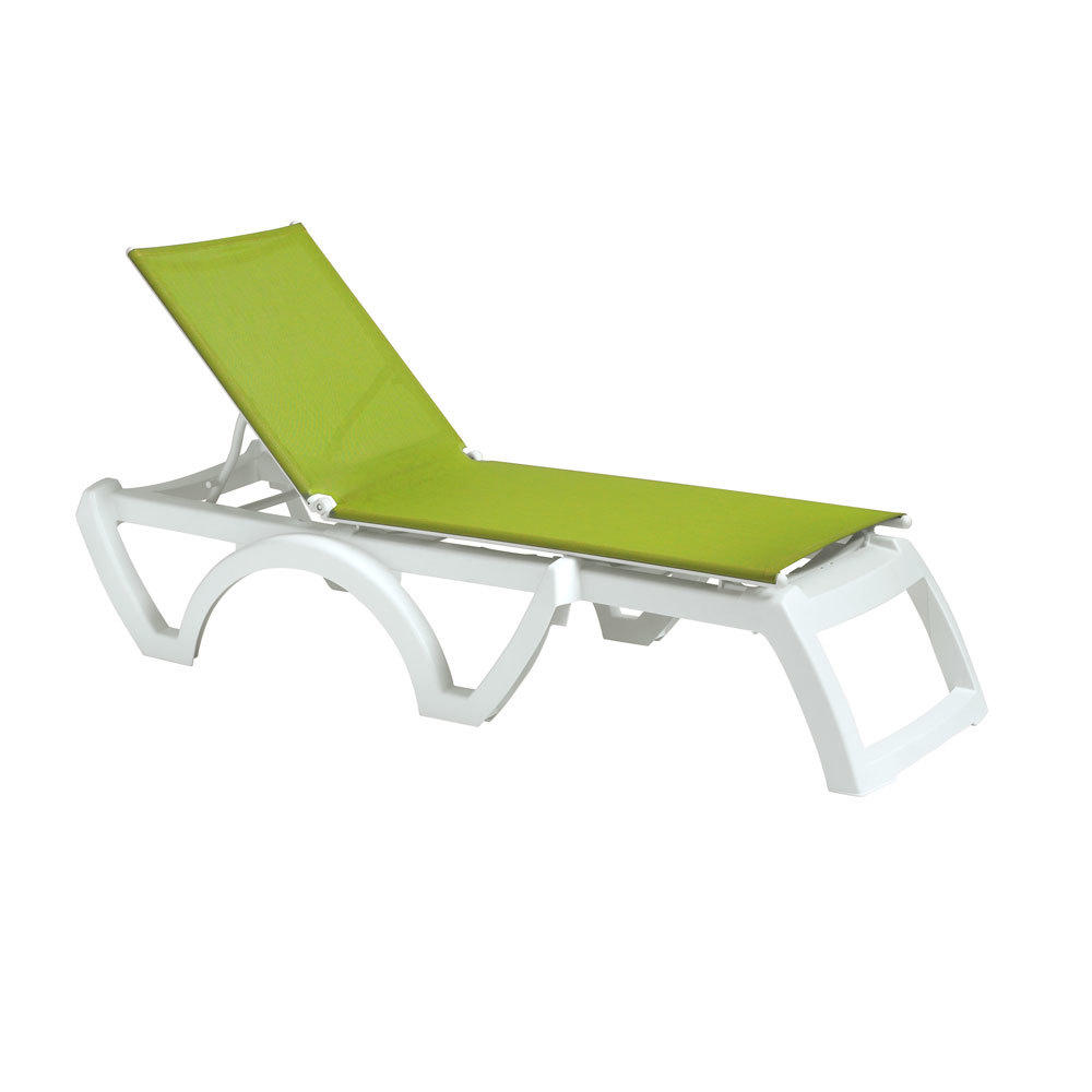 Grosfillex us476152 us746152 calypso white fern green - Grosfillex chaise longue ...