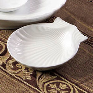 "CAC SD-4 4"" Bright White China Shell-Shaped Dish - 36/Case"