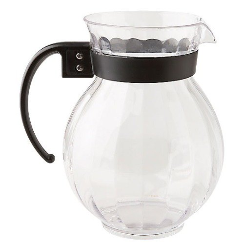 GET P-4091 90 oz. Tahiti Clear Plastic Pitcher with Black Handle