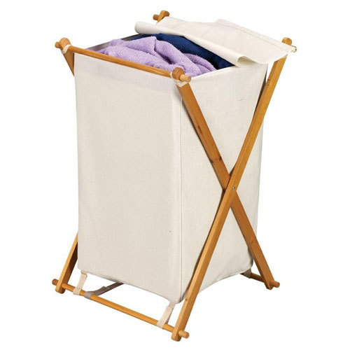 Wood X Frame Collapsible Laundry Hamper