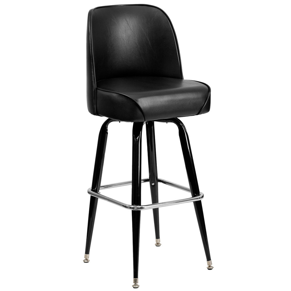 Metal Barstool with 18 14quot Wide Black Padded Vinyl Swivel  : metal barstool with black vinyl swivel bucket seat from webstaurantstore.com size 1000 x 1000 jpeg 38kB