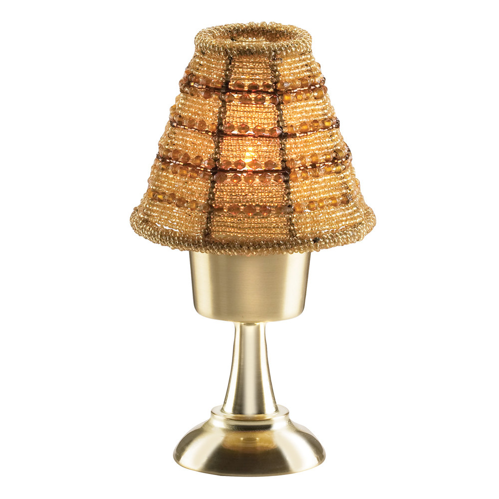 sterno products 85466 petite amber beaded lamp shade