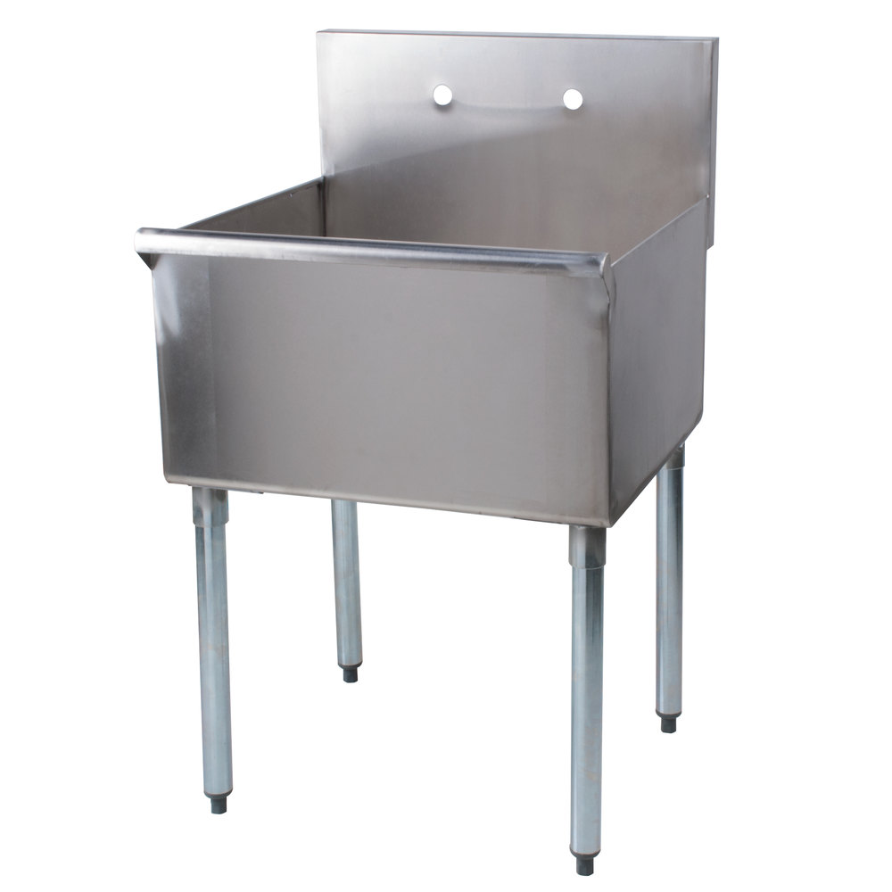 Regency 24 Inch 16 Gauge Stainless Steel One Compartment Commercial Utility Sink