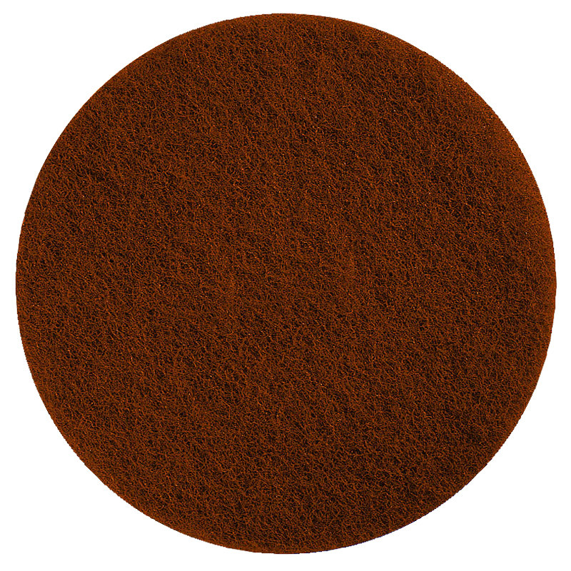 """Oreck 437049 Equivalent 12"""" Brown Stripping Floor Pad - 5/Case"""