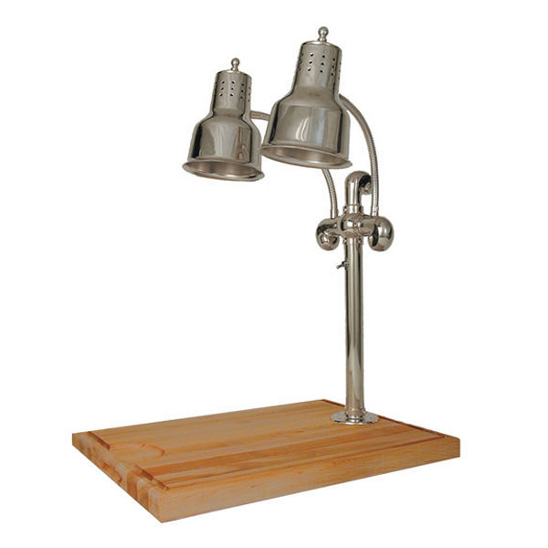 """Hanson Heat Lamps DLM/MB-2015/CH Dual Lamp 20"""" x 15"""" Chrome Carving Station with Maple Block and Gravy Lane"""