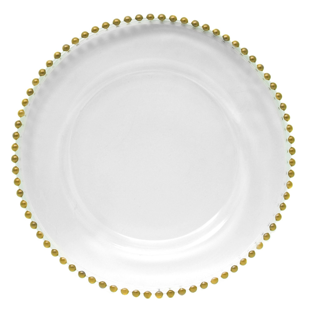The Jay Companies 1900007 13 Quot Round Gold Beaded Glass Charger Plate