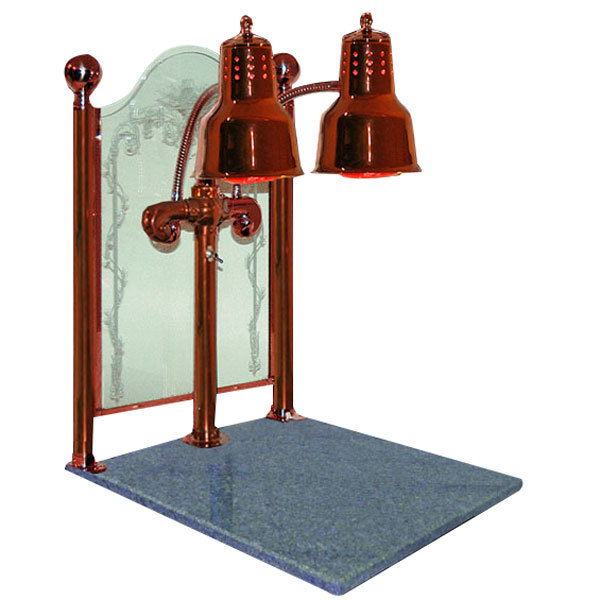 """Hanson Heat Lamps DLM/CC/GB/SC Dual Bulb 20"""" x 24"""" Smoked Copper Carving Station with Natural Granite Base and Sneeze Guard"""