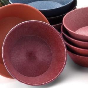 "HS Inc. HS1012 8"" x 2 1/4"" Raspberry Polyethylene Round Basket - 24/Case"