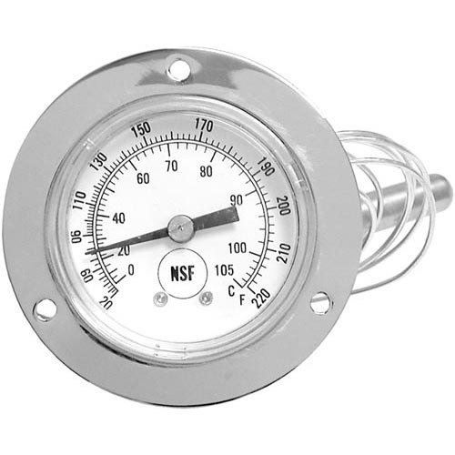 All Points 62-1095 Temperature Gauge: 20 to 220 Degrees Fahrenheit; 3' Capillary; Flange Mount