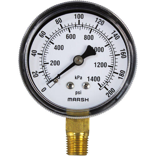 "All Points 62-1020 Pressure Gauge; 0 - 200 PSI; 1/4"" MPT Bottom Mount"
