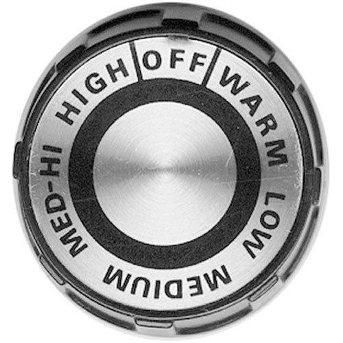 "All Points 22-1555 2"" Black and Silver Broiler / Range Knob (Off, Warm, Low, Medium, Med-Hi, High)"