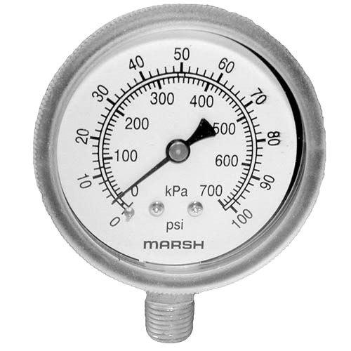 """Cleveland 07169 Equivalent Pressure Gauge; 0 - 100 PSI; 1/4"""" MPT Bottom Mount Main Image 1"""