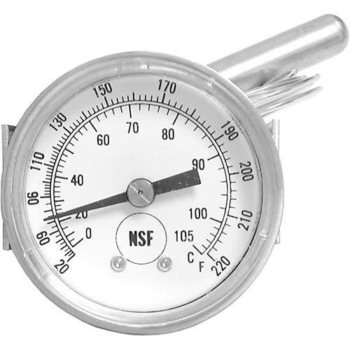 Food Warming Equipment TMETER H-1 Equivalent Temperature Gauge: 20 to 220 Degrees Fahrenheit; 3' Capillary; U-Clamp Mount Main Image 1
