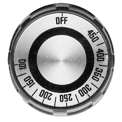 "All Points 22-1521 2"" Black Grill / Oven Thermostat Dial with Silver Insert (Off, 100-450)"