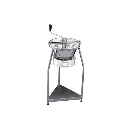 "1.5mm Grid Tellier P10 15 1/2"" Diameter Tin-Plated Rotary Food Mill and Stand - 12 Qt. Capacity"