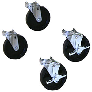 """APW Wyott 33900 3"""" Swivel Casters for HDX, HDD, and HDDS Countertop Drawer Warmers - 4/Set Main Image 1"""