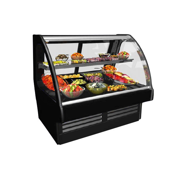 """Structural Concepts GMDS8R Fusion 100"""" Black Curved Glass Refrigerated Deli Case - 120V Main Image 1"""
