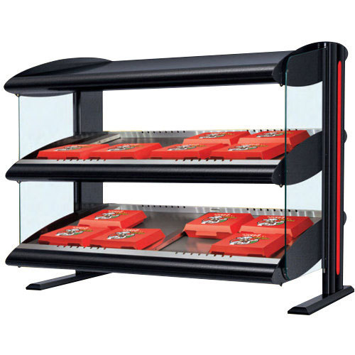 "Hatco HXMS-48D LED 48"" Slanted Double Shelf Merchandiser - 120/208V Main Image 1"