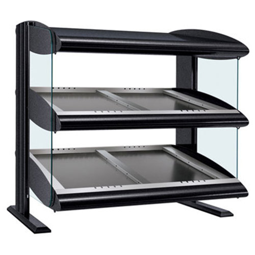 "Hatco HZMS-60D Black 60"" Slanted Double Shelf Heated Zone Merchandiser - 120/240V"