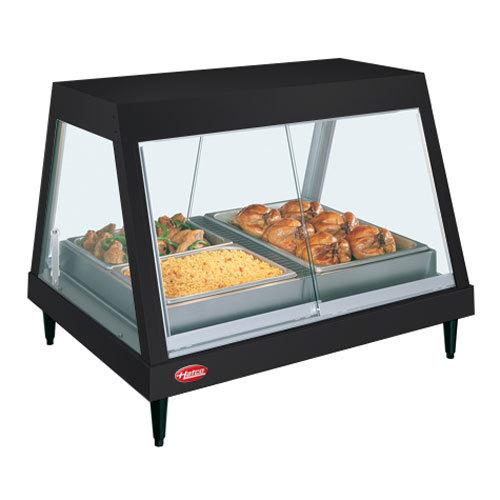 """Hatco GRHD-4P Black Stainless Steel Glo-Ray 58 1/2"""" Full Service Single Shelf Merchandiser - 120/240V"""