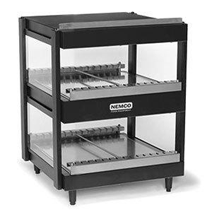 "Nemco 6480-24-B Black 24"" Horizontal Double Shelf Merchandiser - 120V"