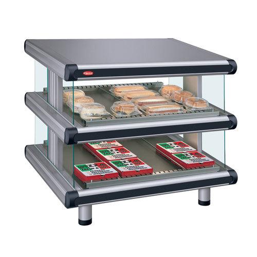 """Hatco GR2SDS-48D Gray Granite Glo-Ray Designer 48"""" Slanted Double Shelf Merchandiser - 120/240V"""