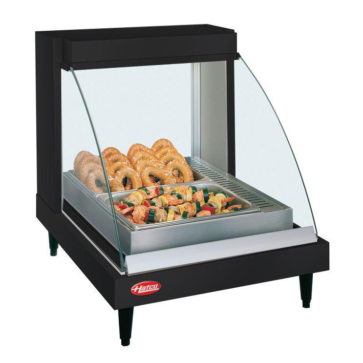 "Hatco GRCD-1P Black 20"" Glo-Ray Full Service Single Shelf Merchandiser - 120V, 410W"
