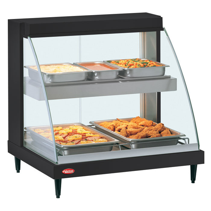 "Hatco GRCD-1PD Black 20"" Glo-Ray Full Service Double Shelf Merchandiser - 120V, 860W"