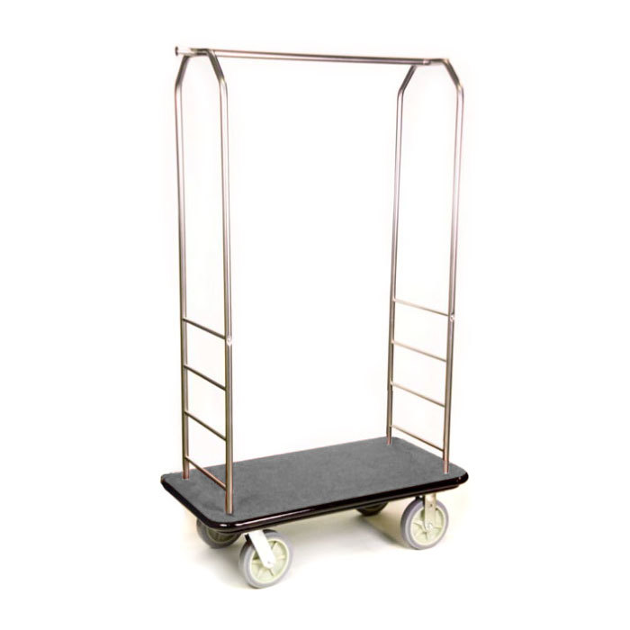 "CSL 2099BK-050 Stainless Steel Finish Bellman's Cart with Rectangular Gray Carpet Base, Black Bumper, Clothing Rail, and 8"" Gray Polyurethane Casters - 43"" x 23"" x 72 1/2"""