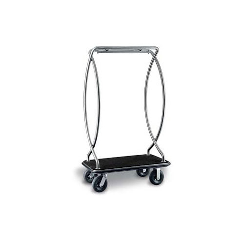 "CSL 2899BK-010-BLK Euro Style Stainless Steel Finish Bellman's Cart with Black Carpet Base, Black Bumper, Clothing Rail, and 8"" Black Pneumatic Casters - 46"" x 24"" x 72"""