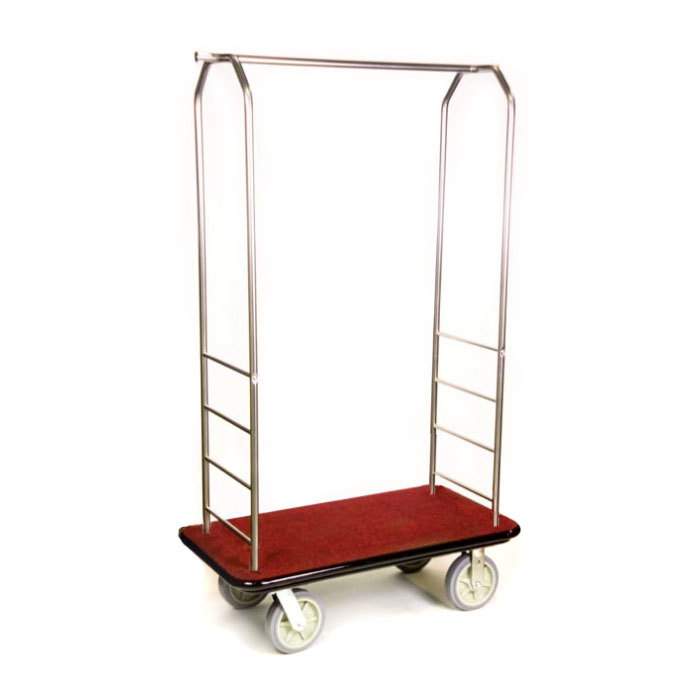 "CSL 2099BK-050 Stainless Steel Finish Bellman's Cart with Rectangular Red Carpet Base, Black Bumper, Clothing Rail, and 8"" Gray Polyurethane Casters - 43"" x 23"" x 72 1/2"""