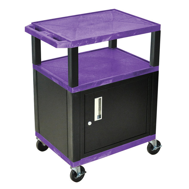 "Luxor WT34PC2E-B Purple Tuffy Two Shelf A/V Cart with Locking Cabinet - 24"" x 18"" x 34"""