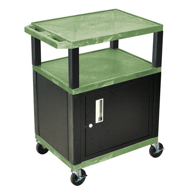 "Luxor WT34GC2E-B Green Tuffy Two Shelf A/V Cart with Locking Cabinet - 24"" x 18"" x 34"""