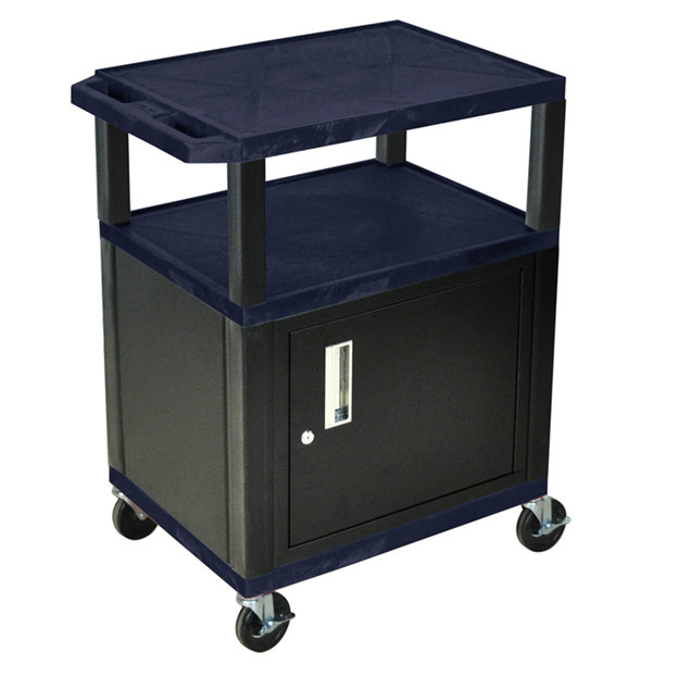 "Luxor WT34ZC2E-B Navy Tuffy Two Shelf A/V Cart with Locking Cabinet - 24"" x 18"" x 34"" Main Image 1"