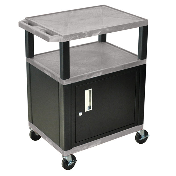 "Luxor WT34GYC2E-B Gray Tuffy Two Shelf A/V Cart with Locking Cabinet - 24"" x 18"" x 34"""