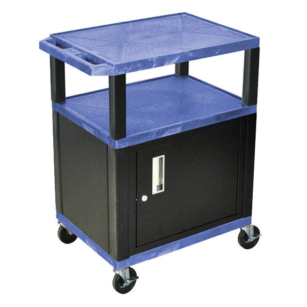 "Luxor WT34BUC2E-B Blue Tuffy Two Shelf A/V Cart with Locking Cabinet - 24"" x 18"" x 34"""