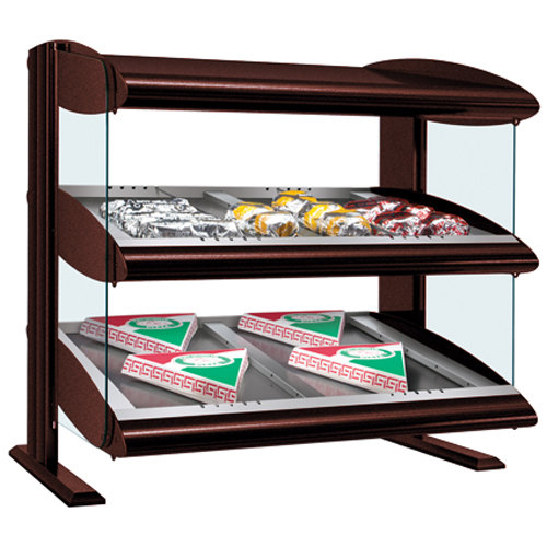 "Hatco HZMS-54D Antique Copper 54"" Slanted Double Shelf Heated Zone Merchandiser - 120/208V"