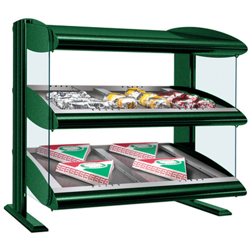 "Hatco HZMS-48D Hunter Green 48"" Slanted Double Shelf Heated Zone Merchandiser - 120/208V"