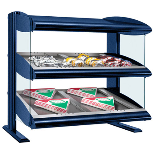 "Hatco HZMS-54D Navy Blue 54"" Slanted Double Shelf Heated Zone Merchandiser - 120/208V"