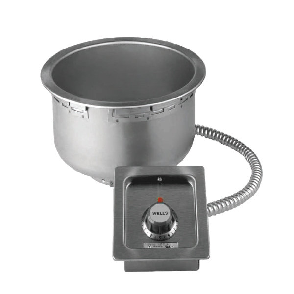 Wells 5P-SS10TDUI 11 Qt. Insulated Round Drop-In Soup Well with Drain - Top Mount, Thermostatic Control, 208/240V Main Image 1