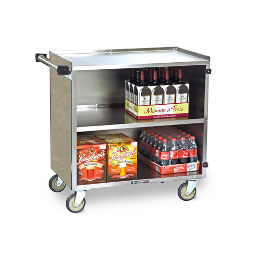 "Lakeside 644 3 Shelf Medium Duty Stainless Steel Utility Cart with Enclosed Base and Beige Suede Finish - 22 1/2"" x 39 1/4"" x 37 3/8"""