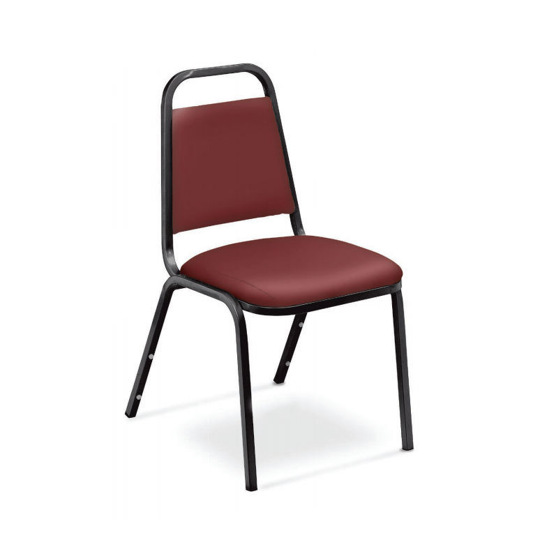 """National Public Seating 9108-B Standard Style Stack Chair with 1 1/2"""" Padded Seat, Black Metal Frame, and Pleasant Burgundy Vinyl Upholstery Main Image 1"""