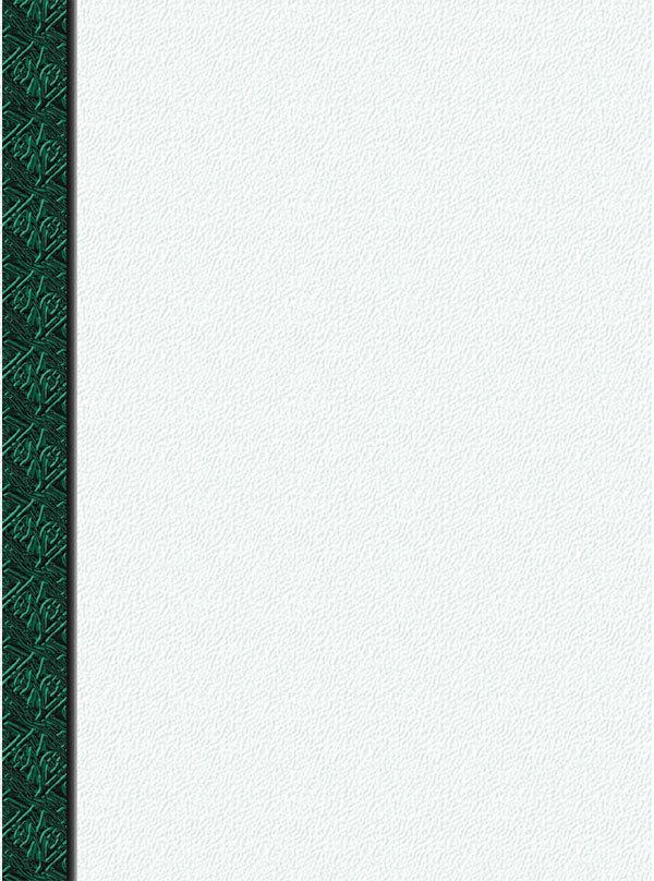 """8 1/2"""" x 11"""" Menu Paper Left Insert - Green Woven Border - 100/Pack"""