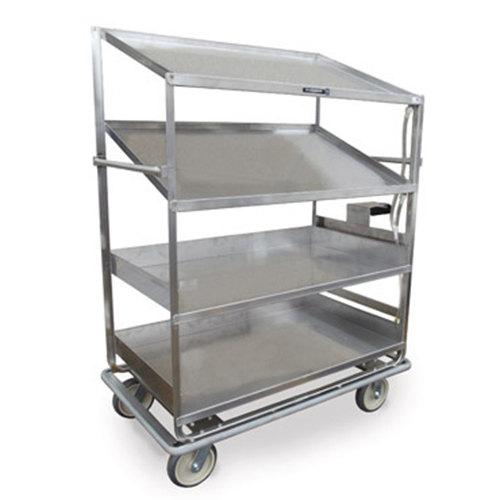 "Lakeside B596 Stainless Steel Soiled Dish Breakdown Cart with 2 Flat Shelves, 2 Angled Shelves - 75 1/2"" x 30 7/8"" x 69 1/4"" Main Image 1"