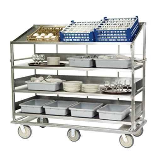 "Lakeside B599 Stainless Steel Soiled Dish Breakdown Cart with 3 Flat Shelves, 1 Angled Shelf - 75 1/2"" x 30 7/8"" x 69 1/4"""