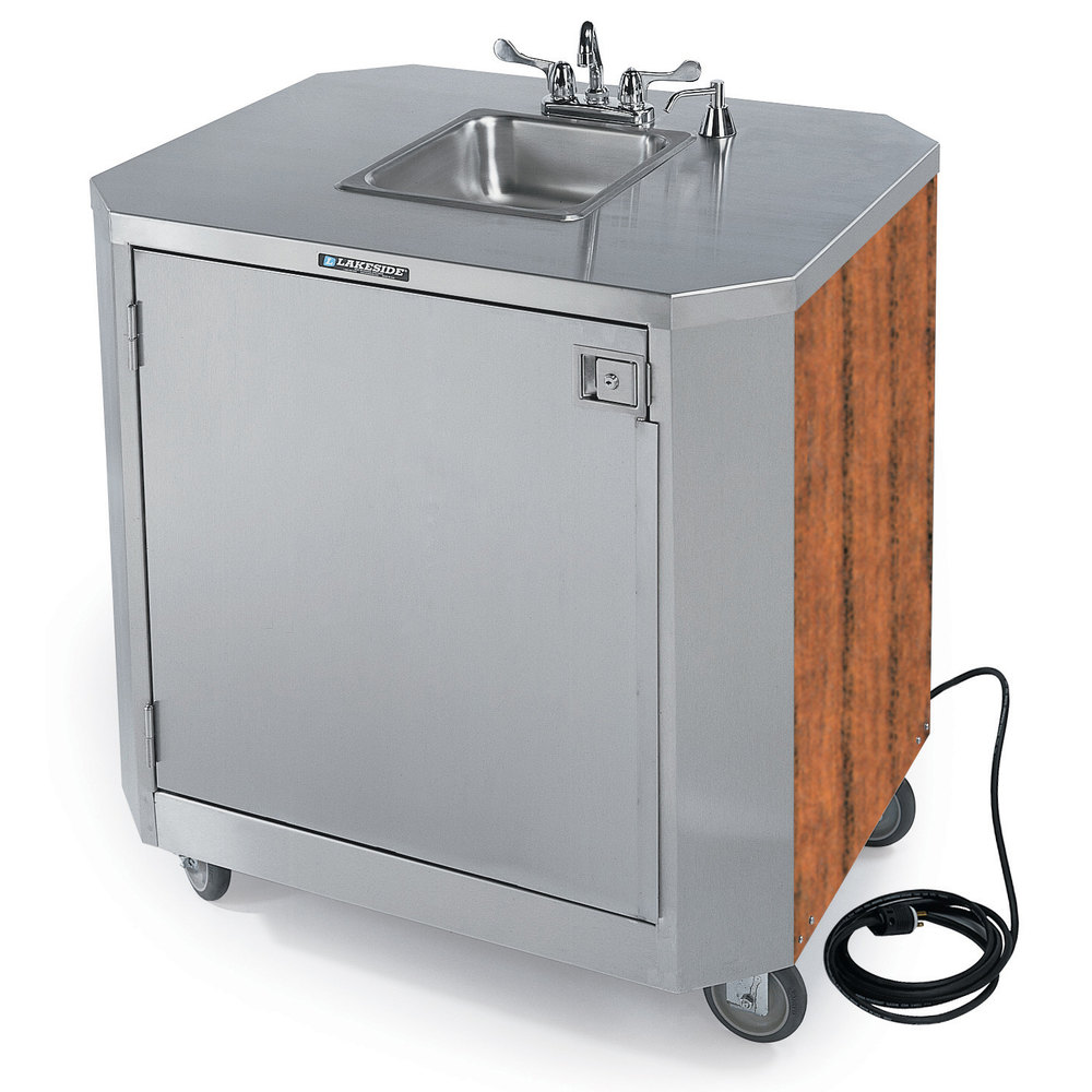 Attrayant Lakeside 9610 Portable Self Contained Stainless Steel Hand Sink Cart With  Hot U0026 Cold Water