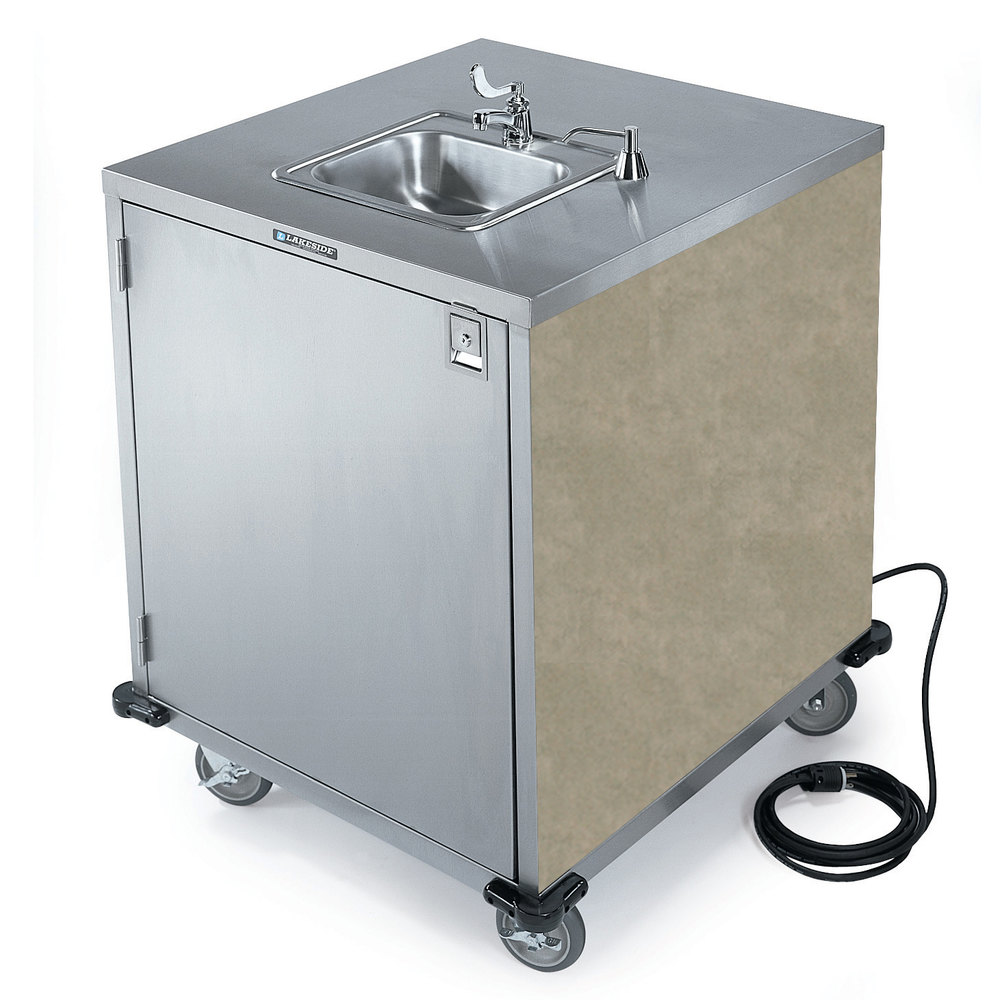 Lakeside 9600 Portable Self Contained Stainless Steel Hand Sink Cart With Col