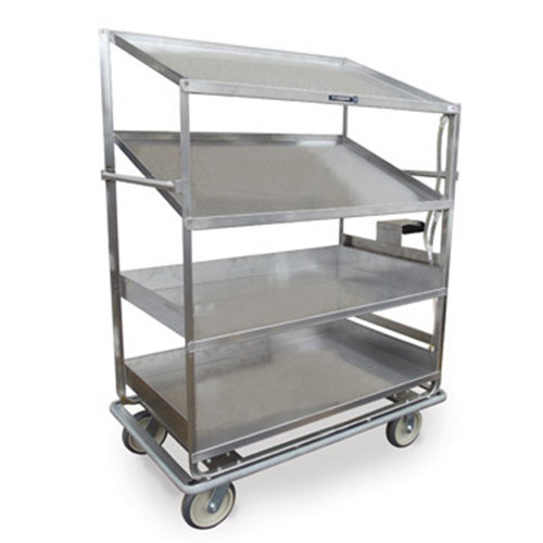 "Lakeside B592 Stainless Steel Soiled Dish Breakdown Cart with 2 Flat Shelves, 2 Angled Shelves - 51 7/8"" x 30 7/8"" x 69 1/4"" Main Image 1"